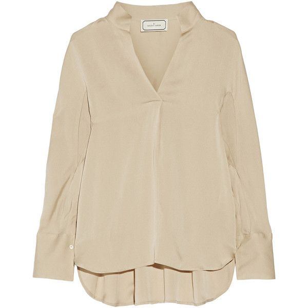 By Malene Birger Patti draped crepe de chine blouse ($180) ❤ liked on Polyvore featuring tops, blouses, pitkähihat, brown tops, relaxed fit tops, drapey tops, drape top and by malene birger