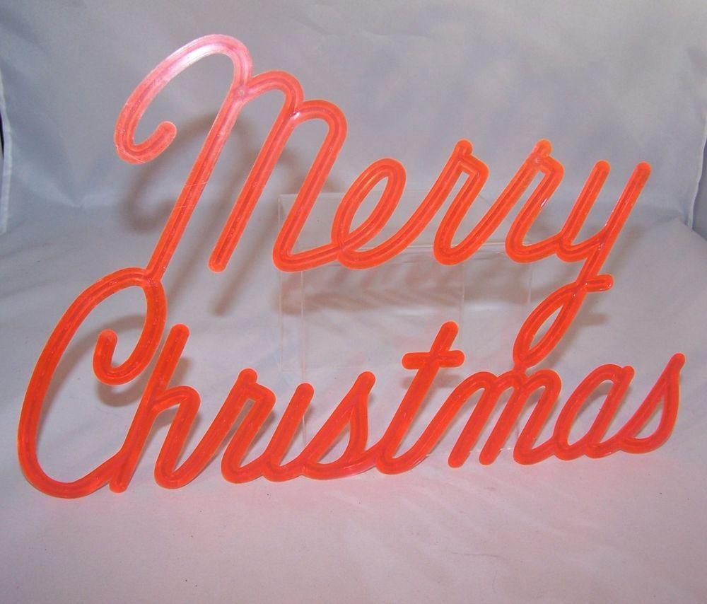 1960s Vintage Red Plastic Merry Christmas Sign Written In Cursive Merry Christmas Sign Christmas Collectibles Modern Christmas