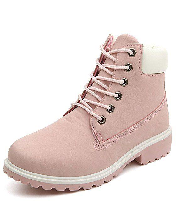 Minetom Mujer Retro Otoño Invierno Botines Calentar Botas De Nieve  Anti-deslizante Lazada Zapatos Botas de Trabajo Pink EU 39 5b7e8864f67
