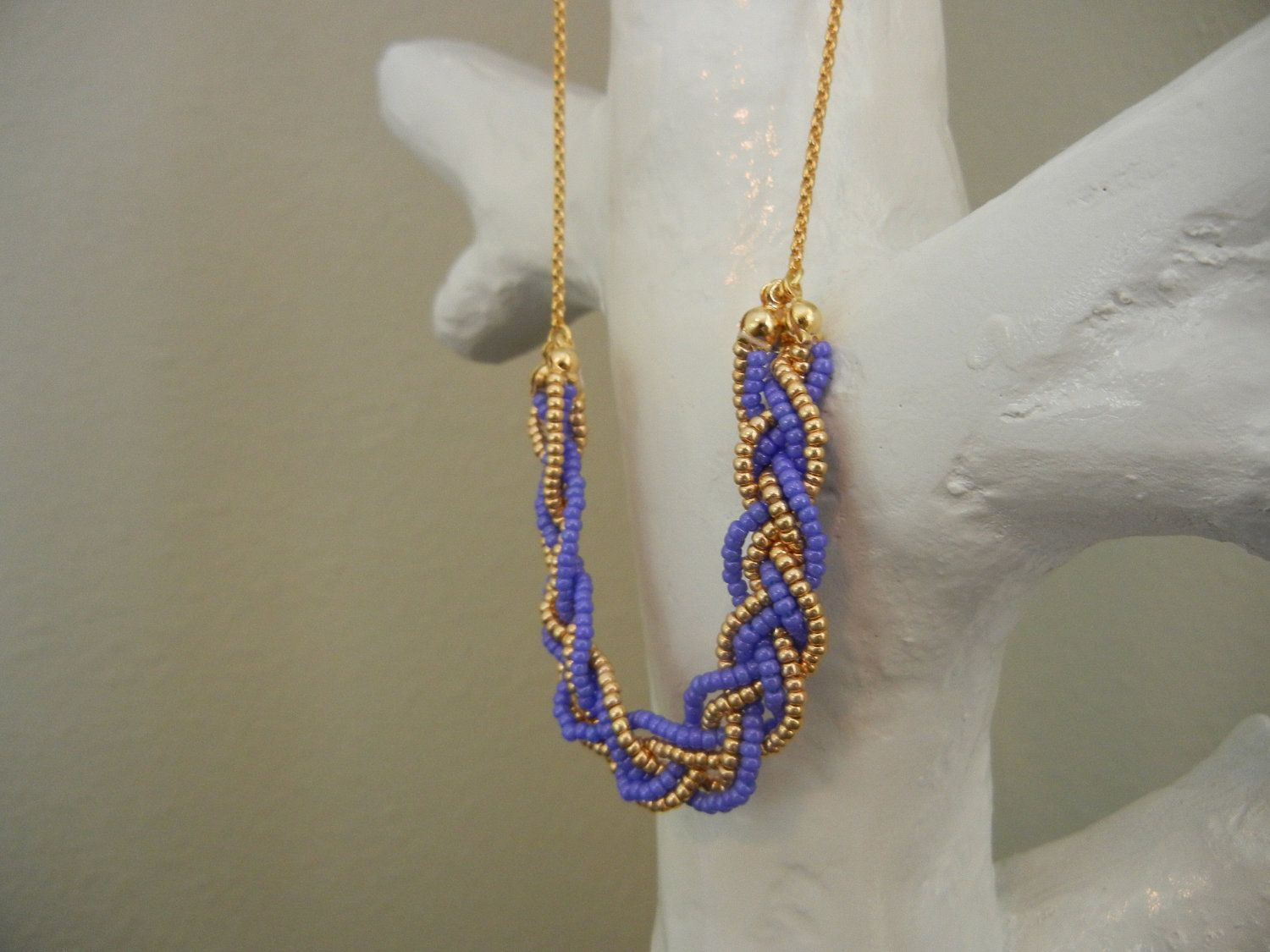 Purple & Gold Braided Necklace Love Braided necklace