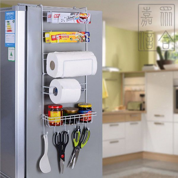 Kitchen Storage Rack- Over-Fridge Hook Shelf Cabinet ...