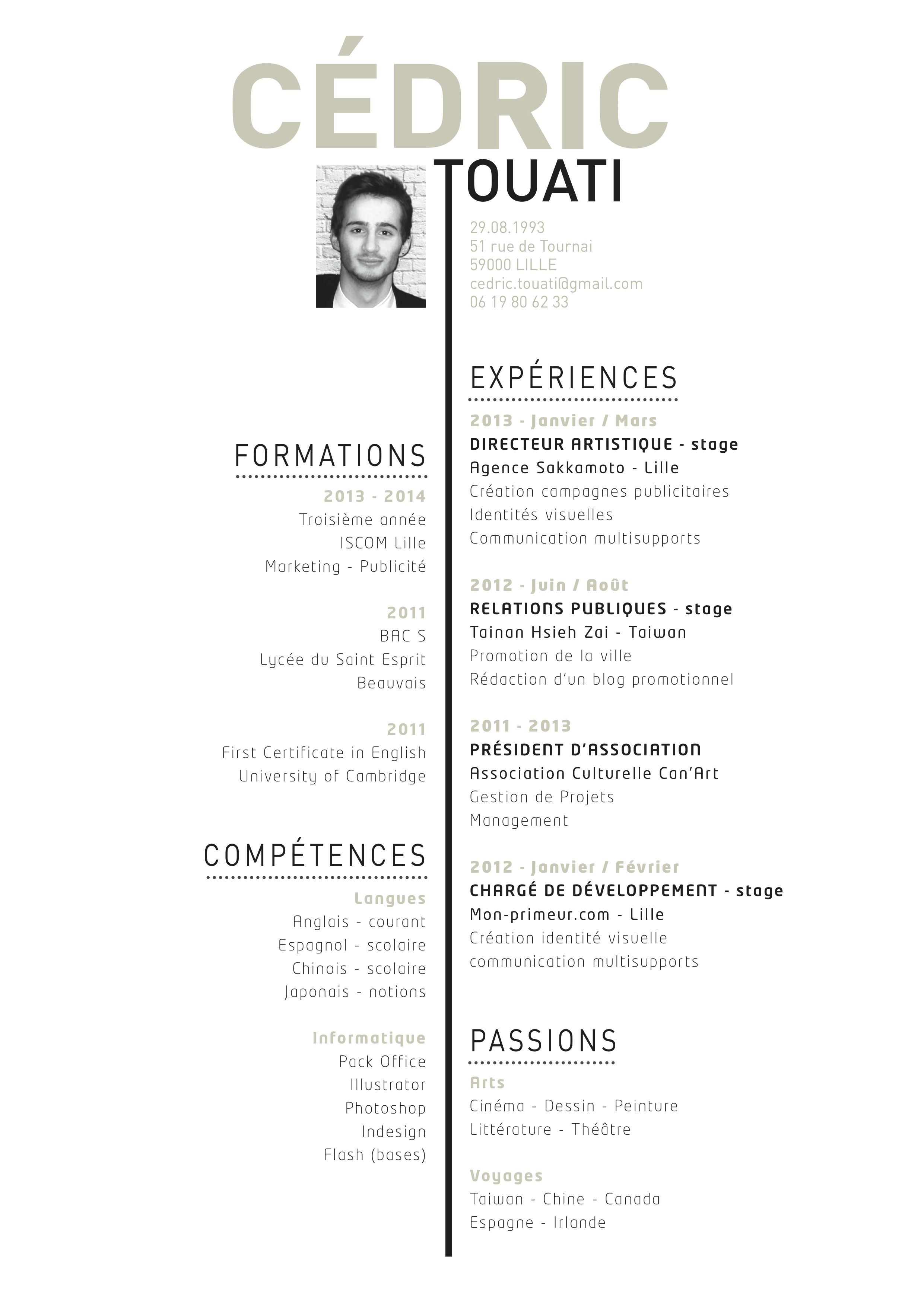 Cv Cedric Touati Art Director Graphic Design Resume Resume Design Inspiration Art Director Portfolio Creative