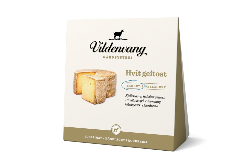 vildenvang cheese. Packaging made by norwegian TANK. The packaging also works for storing the cheese after being opened.