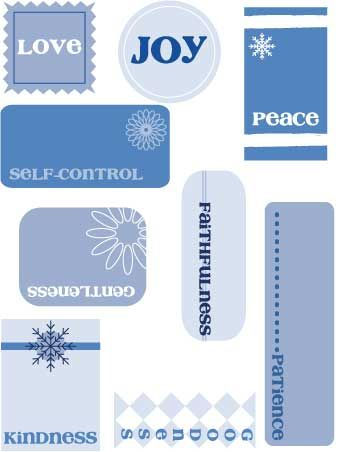 Blue & White printable Christmas gift tags (featuring the fruit of the spirit - Galatians 5)