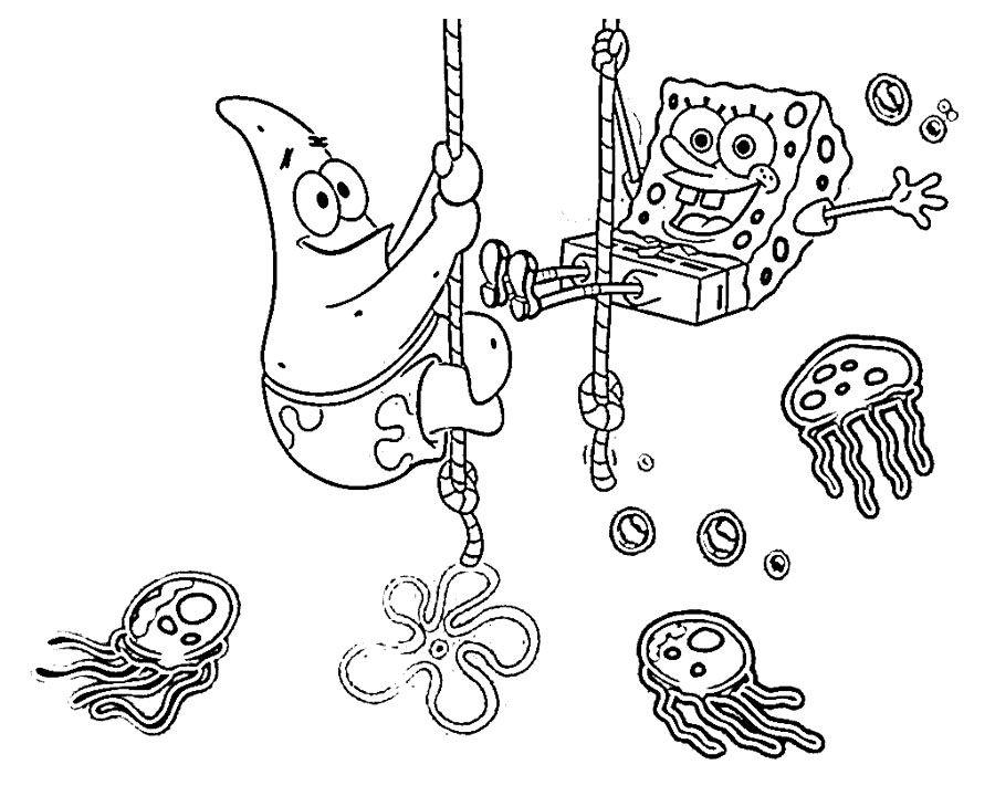 Spongebob And Patrick Having Fun Coloring Page   fiestas de Bob ...