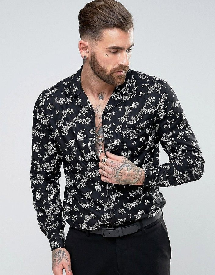 3e59c71b193 ASOS Regular Fit Viscose Shirt With Piping and Floral Print Men Fashion and  Female Style. Klick to see the Price