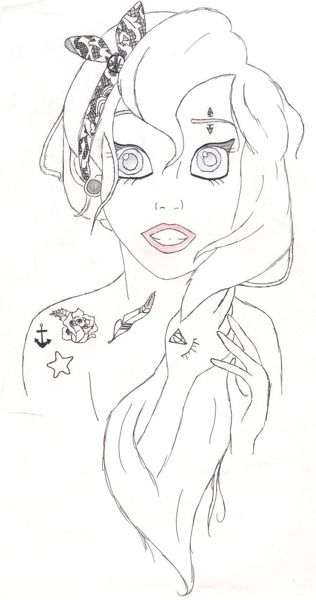 Coloring pages emo - Punk Emo Ariel Coloring Pages