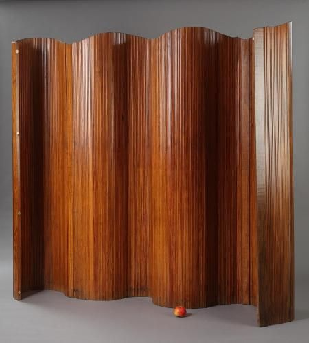 Mid Century Wooden Folding Screen From Baumann 1950s For