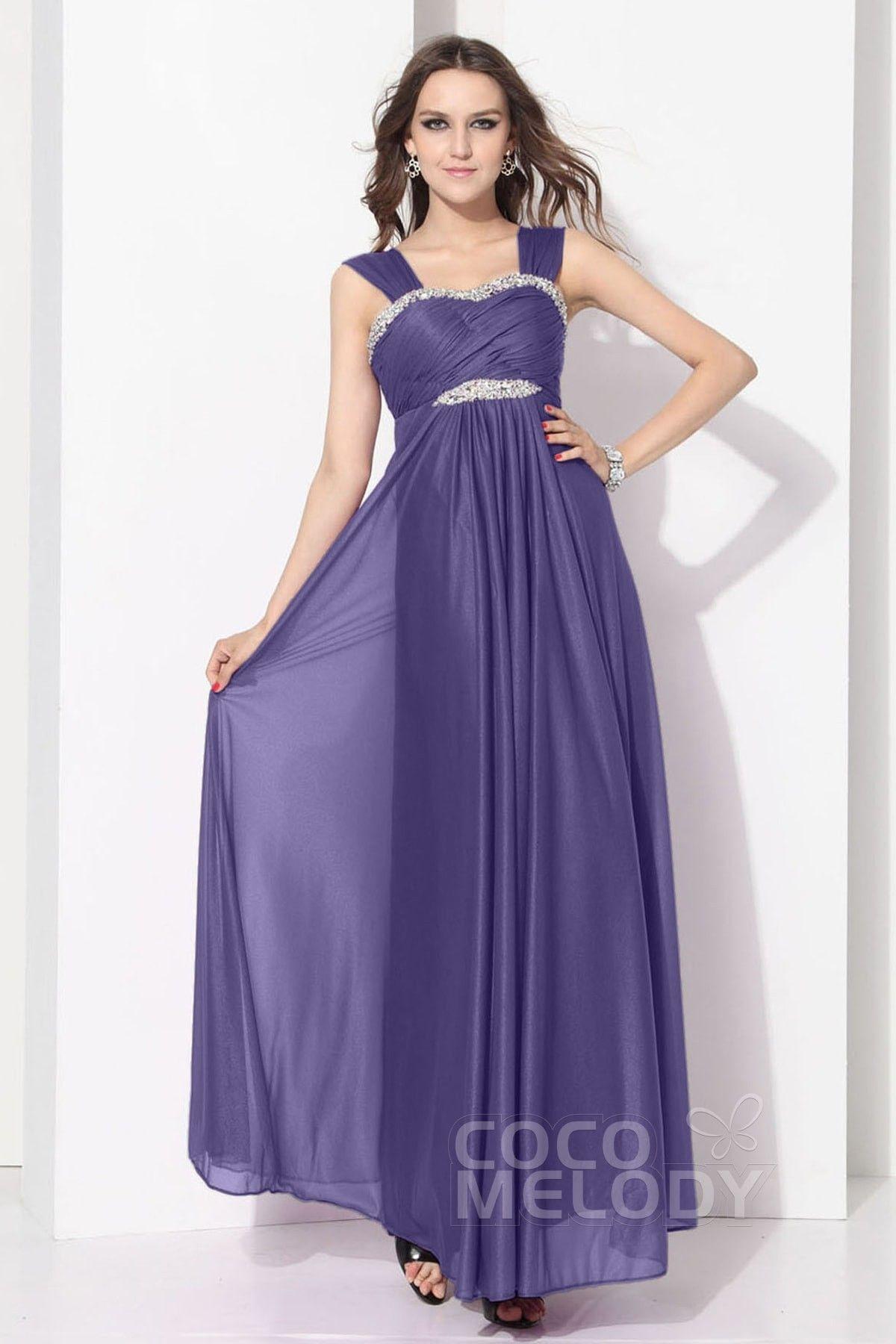 Latest Sheath-Column Straps Ankle Length Chiffon Bridesmaid Dress ...