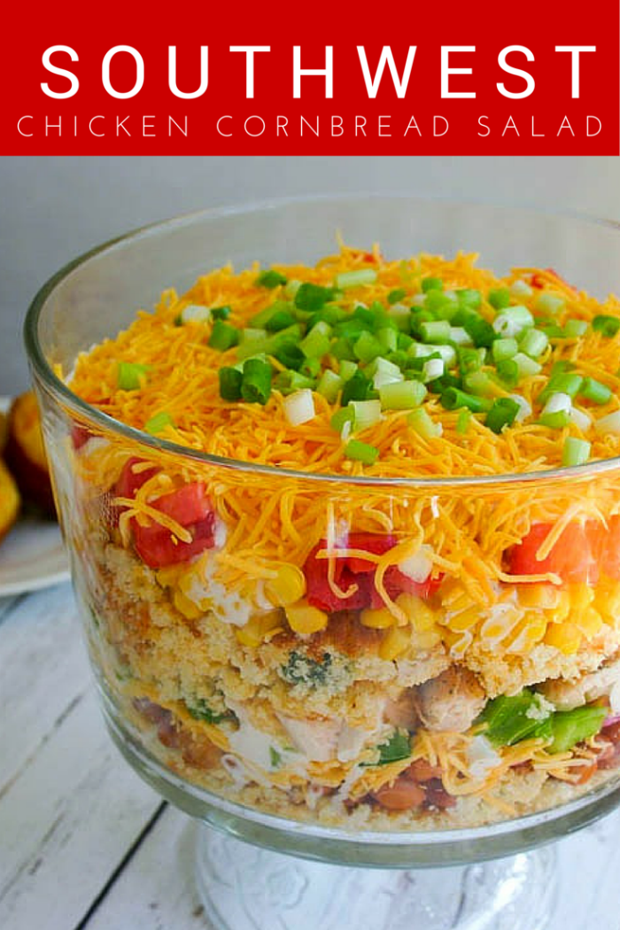 Southwest Chicken Cornbread Salad | Life, Love, and Good Food #recipe #meal