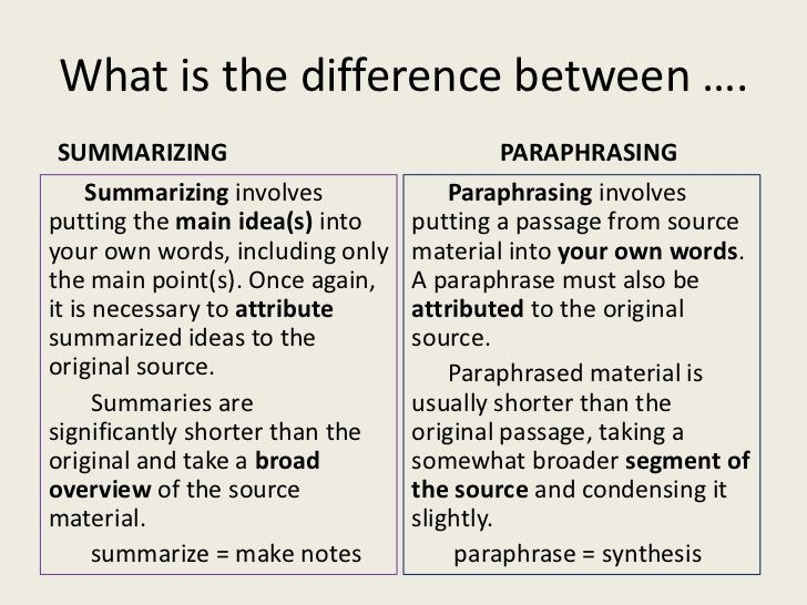 Paraphrasing Skill Paraphrase Summarize Essay The Difference Between Summary And