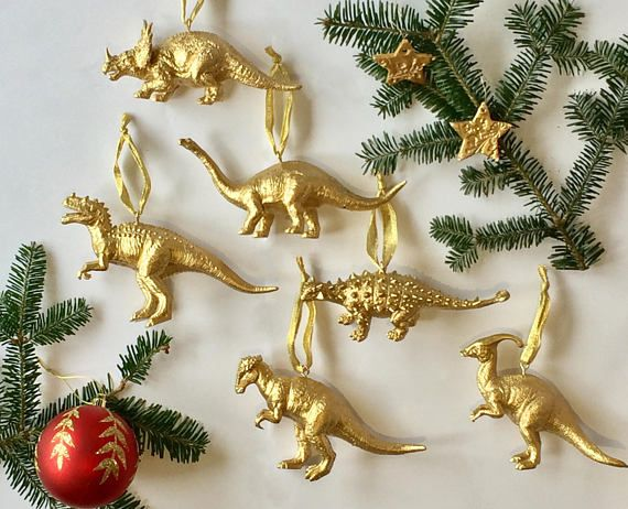 dinosaur christmas ornaments gold dino christmas baubles - Dinosaur Christmas Decorations