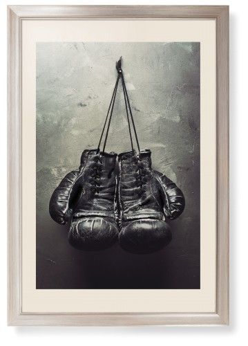 Boxing Gloves Framed Print, Metallic, Modern, None, Cream, Single piece, 20 x 30 inches, White
