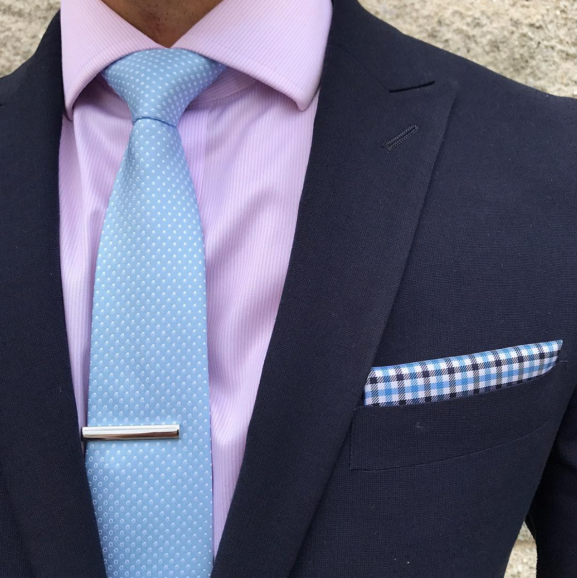 Pure Light Navy Mens Fashion Silvery Dots Pre-tied Bowtie Pocket Square Set