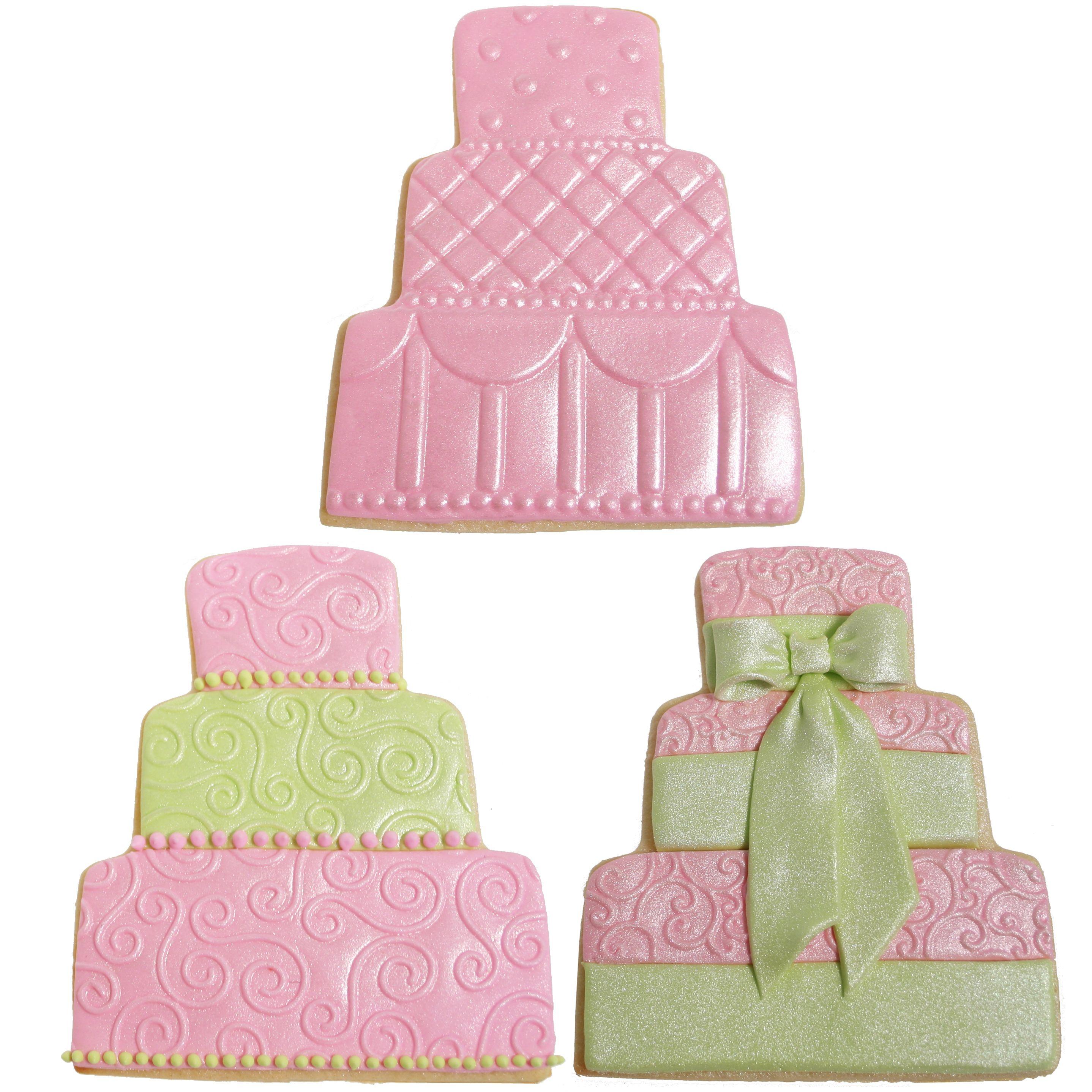 Pink and Green Wedding Cake Cookies   Wedding cake cookies, Cookie ...