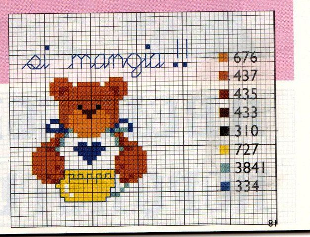 Bavetta orsetto punto croce con schema teddy cross stitch for Schemi punto croce per bavaglini