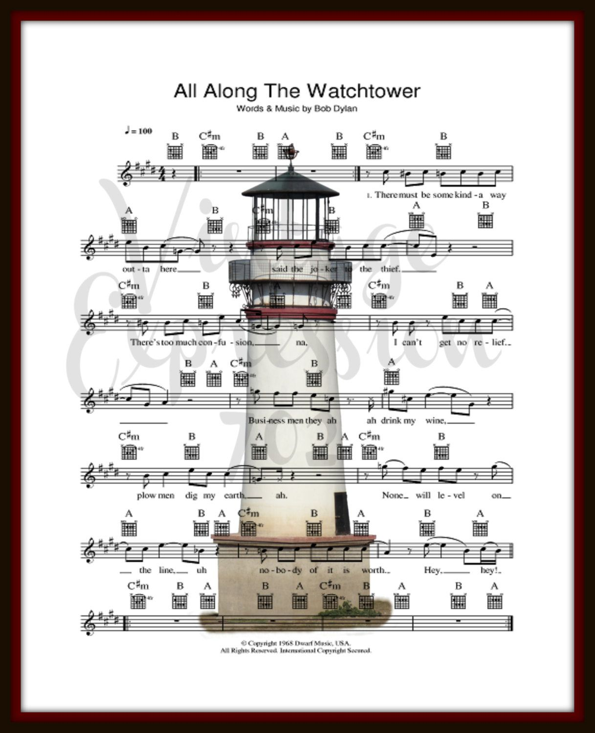 Bob Dylan All Along The Watchtower On Lyric Song Sheet Art