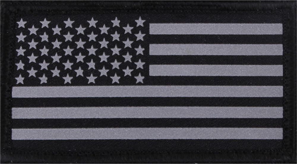 Reflective Us Flag Patch Black Silver Military Hook Loop American Usa Rothco Flag Patches American Flag Patch Rothco