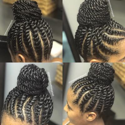 Flat Twist Updo Bun With Extensions Flat Twist Updo Twist Hairstyles Hair Styles