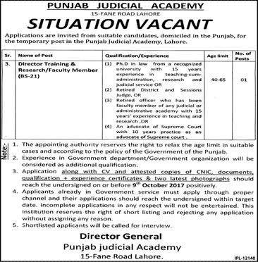 Punjab Judical Academy Jobs  In Lahore For Director Training