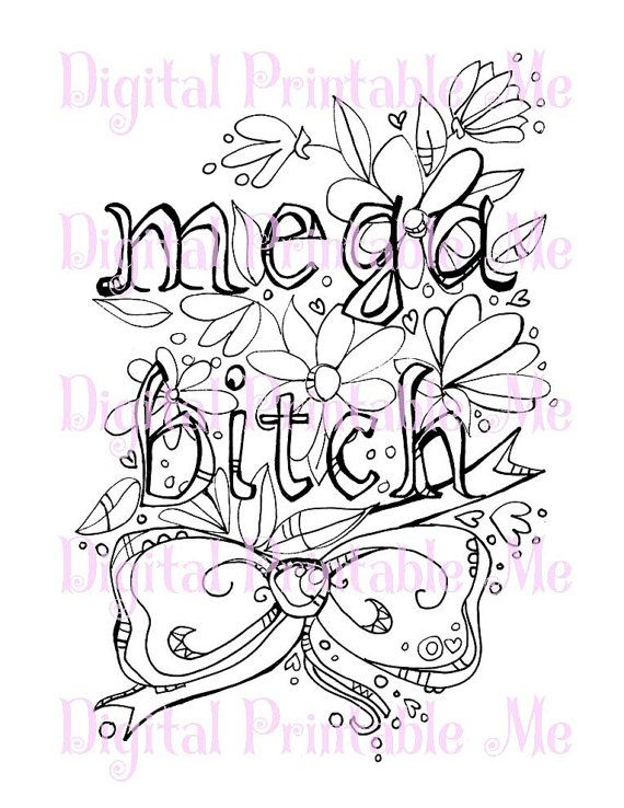 68 Curse Word Coloring Book Page Printable By
