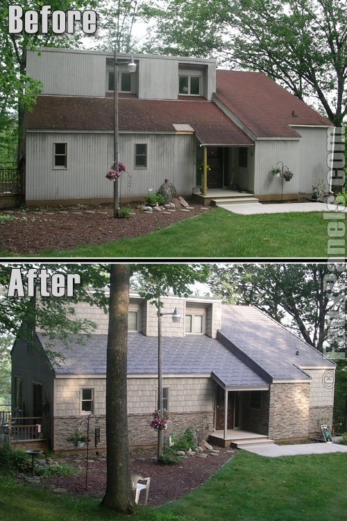 This before and after photo shows the dramatic change - Change the exterior of your house ...