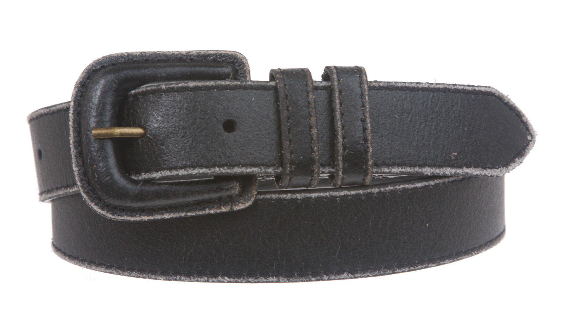 "1"" Vintage Retro Stitching-Edged Distressed Leather Belt"
