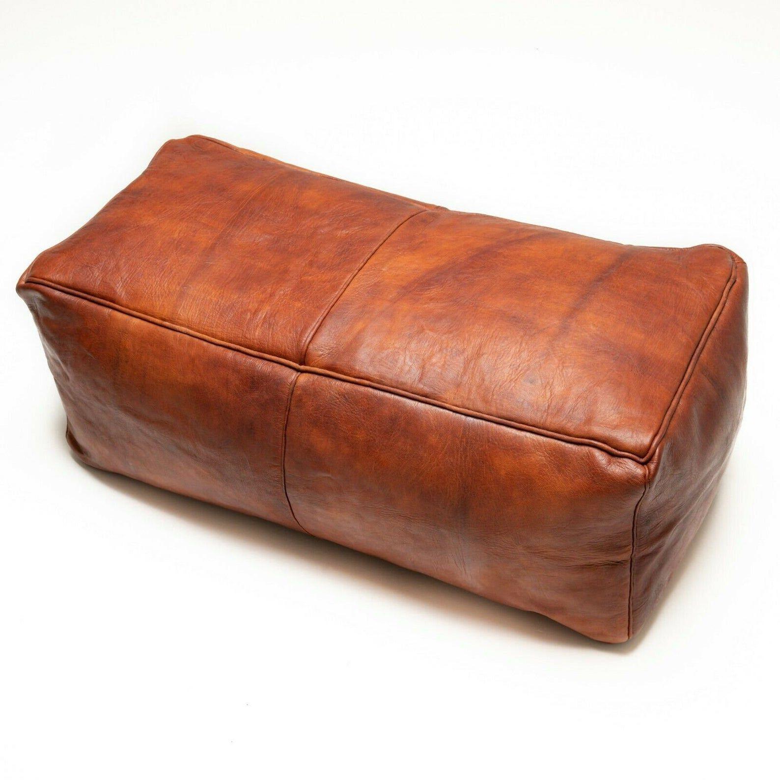 Light Tan Color Poufs Footstool Moroccan square pouf Handmade Pouf leather Genuine Leather Ottoman pouffe Unstuffed