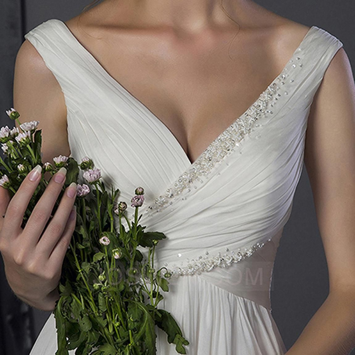 A Line Off The Shoulder Floor Length Chiffon Wedding Dress With