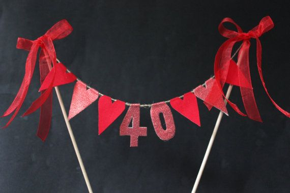 Ruby 40th Anniversary Cake Topper Cake Bunting Cake Flags Red - Ruby Wedding Cake Toppers