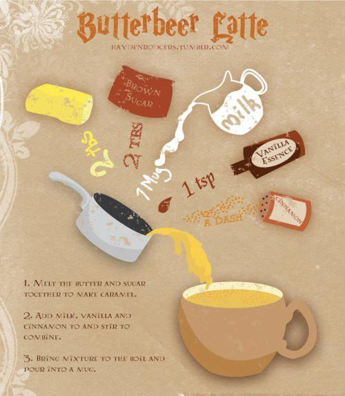 Butterbeer Latte (for HP fans)        Ingredients:          2 tbs. butter        2 tbs. brown sugar        1 mug of milk        1 tsp. vanilla extract        a dash of cinnamon               Procedure:        1.  Melt butter and sugar to make caramel.      2. Add milk, vanilla, and cinnamon and stir      3. Bring mixture to a boil and pour into mug