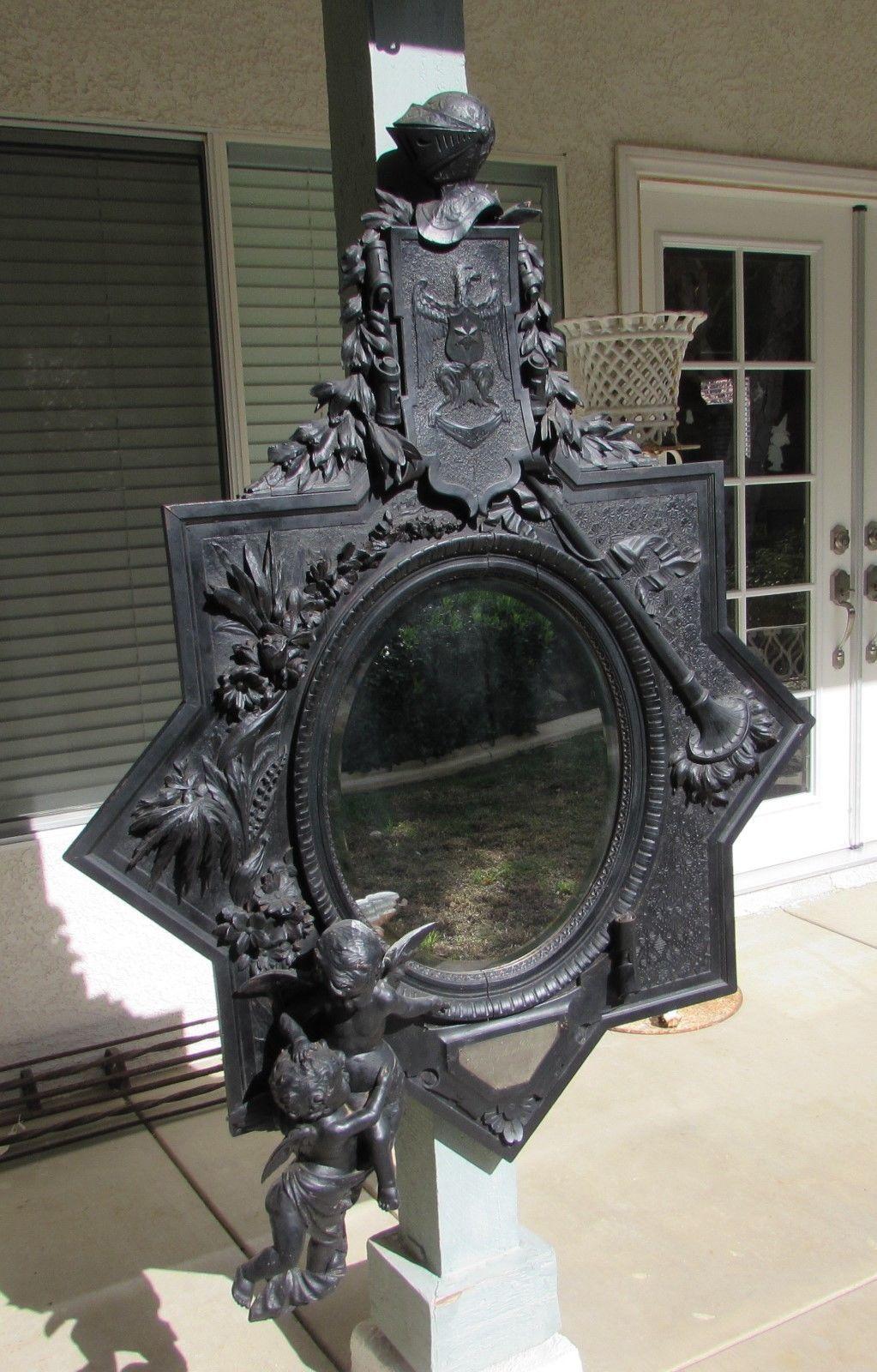 HUGE 5' Antique Hand Carved Ornate Wood FRAME & Beveled ...