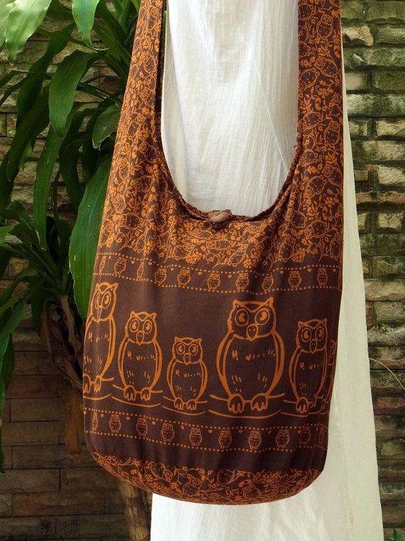 5dd9e112882 Hobo Boho Hippie Crossbody Owl Bag Purse Cotton Messenger Diaper ...