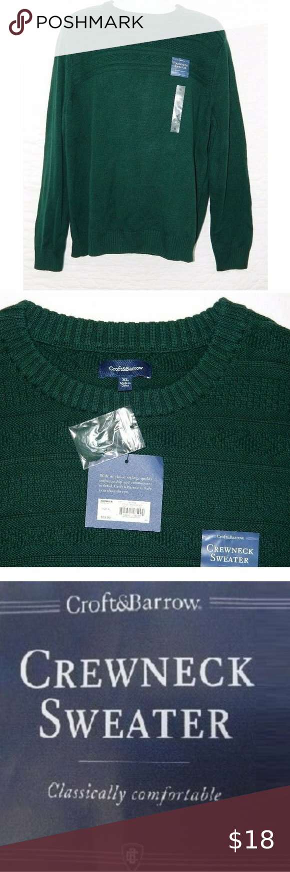 New Men S Croft Barrow Crew Neck Sweater Crew Neck Sweater Long Sleeve Tshirt Men Crew Neck [ 1740 x 580 Pixel ]