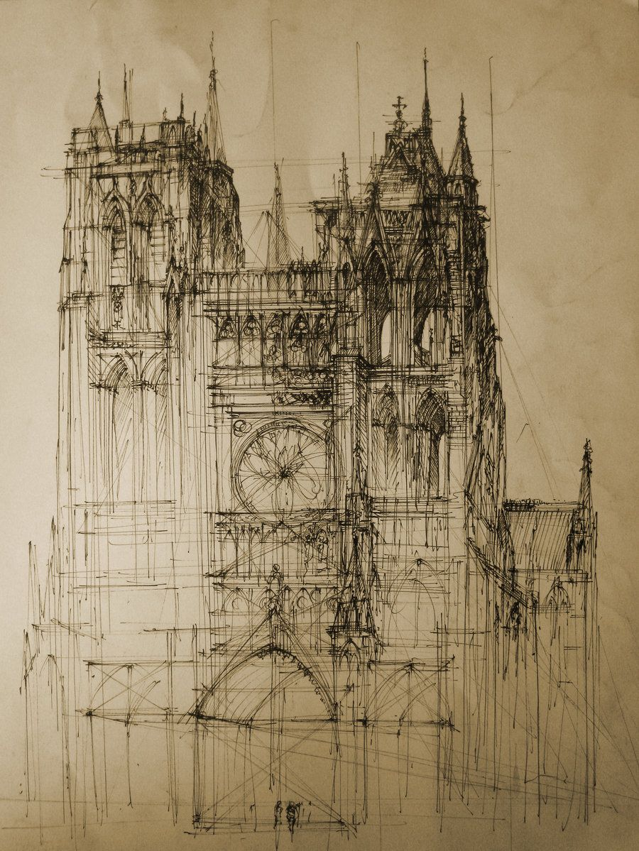 This Is A Great Modern Sketch Of Rendering Gothic Cathedral Including The Rose Window Buttress And Symmetry