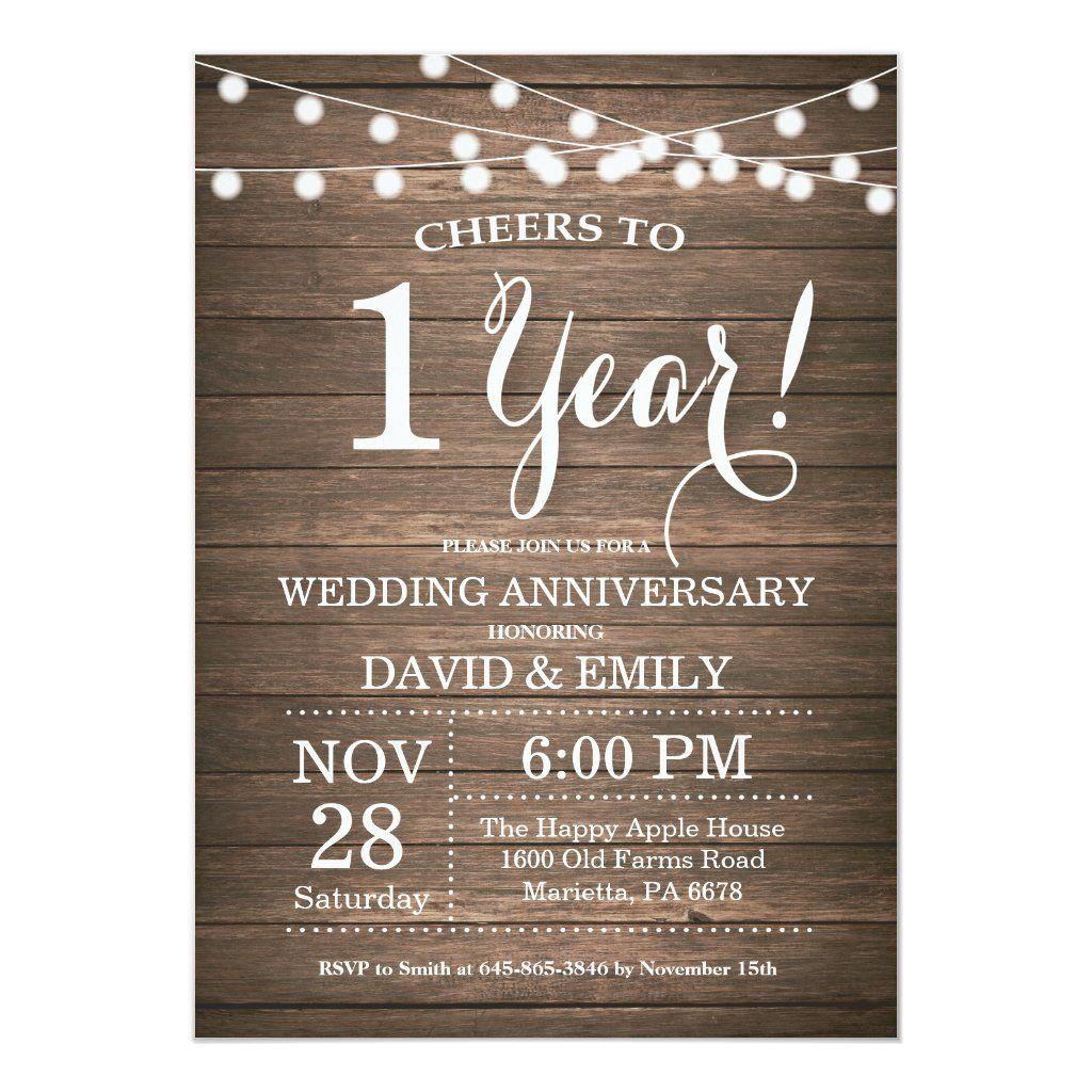 1st Wedding Anniversary Invitation Rustic Wood Zazzle Com 50th Wedding Anniversary Invitations Wedding Anniversary Invitations Anniversary Invitations