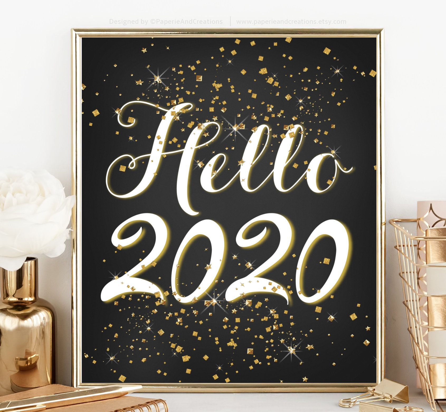 Hello 2020, New Year Eve Sign Gold Glitter, New Years