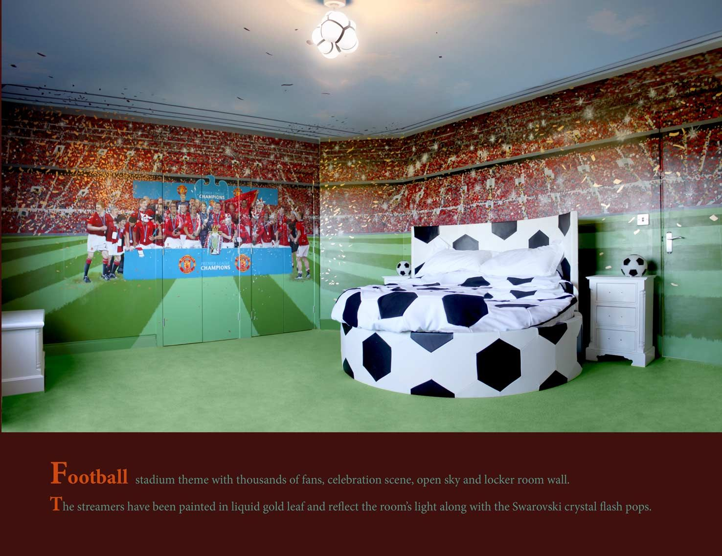 Football Wall Mural Football Stadium Photo Wallpaper Boys: Football Themed Room Mural By OneRedShoe.co.uk Cheshire