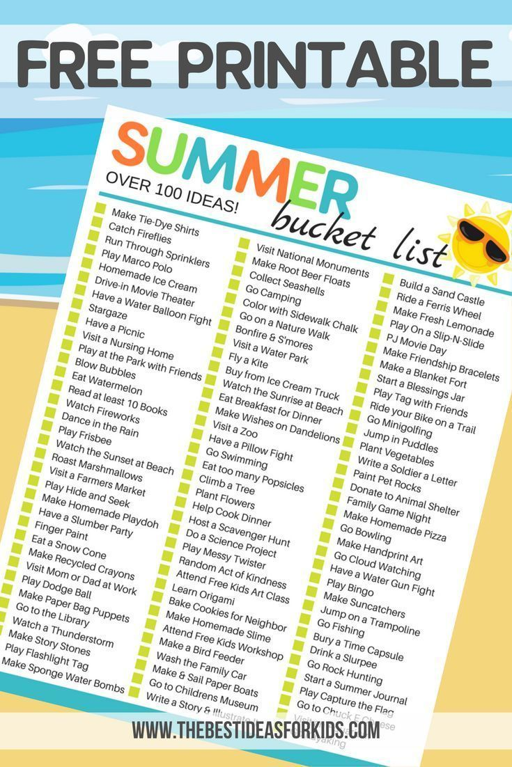 Summer Bucket List for Kids! Over 100 fun ideas to keep kids busy ...