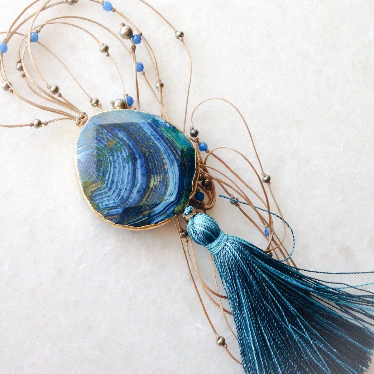 Jasper pendant with turquoise tassel