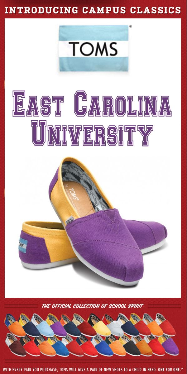 287c4a9bf71 TOMS Shoes East Carolina University Campus Classics - One for One ...