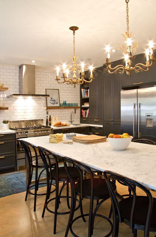Kitchen | Cameron MacNeil Designs | Black Cabinetry | Vintage Bronze Chandeliers | Marble | Subway Tile