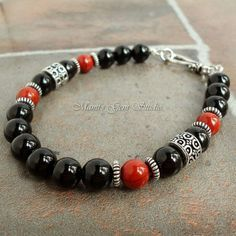 Black Onyx and Red Jasper Mens Bracelet Handmade Jewelry for Men