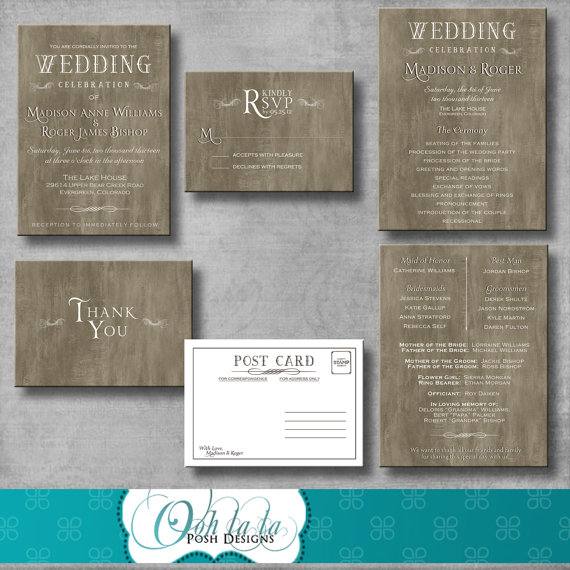 Rustic Elegant Wedding Invitation Response Card Wedding Program