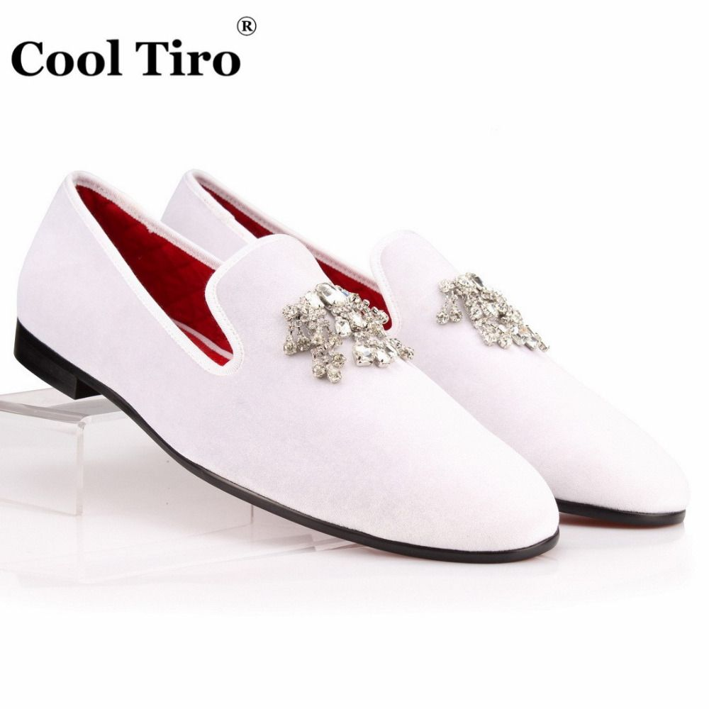 e7161a00083 COOL TIRO Velvet Dress Shoes Men Loafers Rhinestones Crystal Tassel Slippers  White Velour Luxury Banquet Men s Flats plus size-in Formal Shoes from Shoes  on ...
