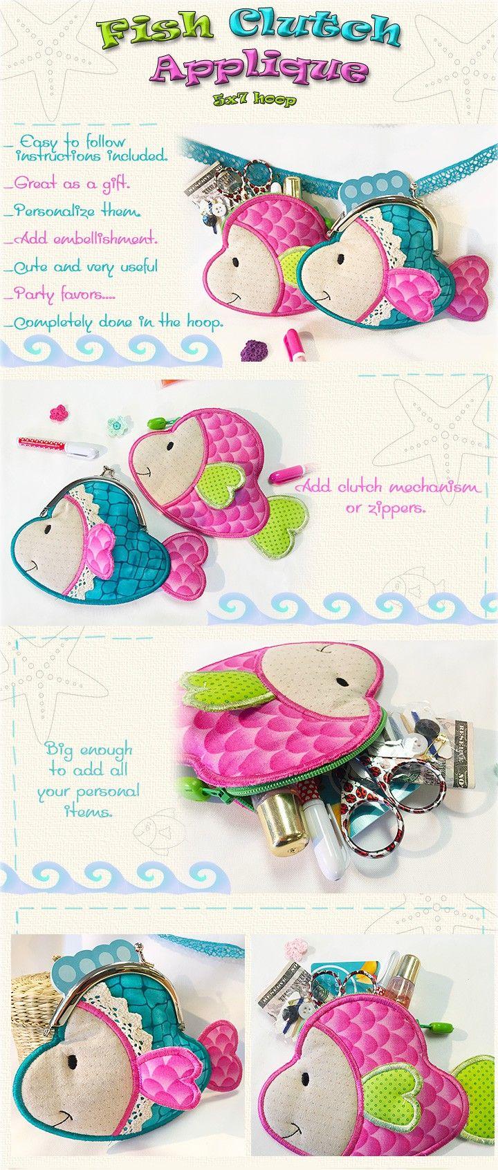 Fishclutch embroidery smart needle pinterest fish fabric