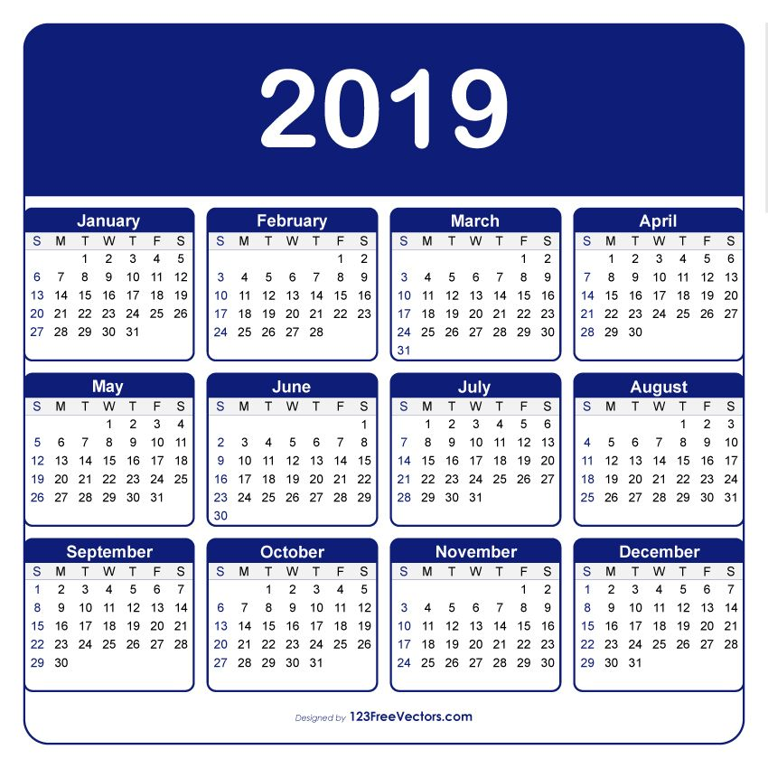 Calendario 2019 Illustrator.Adobe Illustrator Calendar Template 2019 2019 Calendar