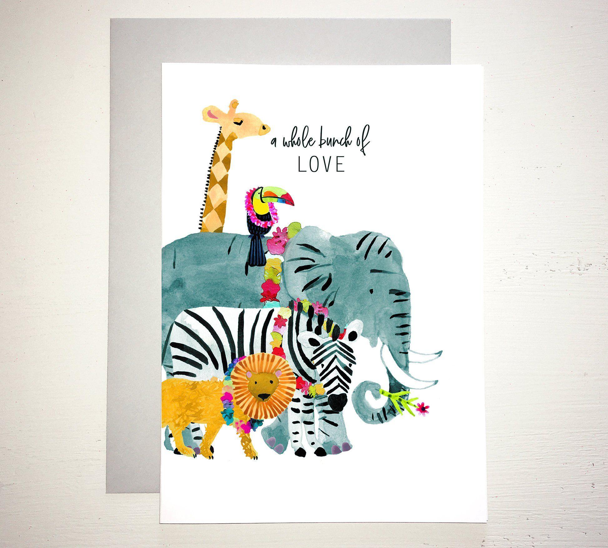 Wild Animal Birthday Card Giraffe Toucan Elephant Zebra Lion