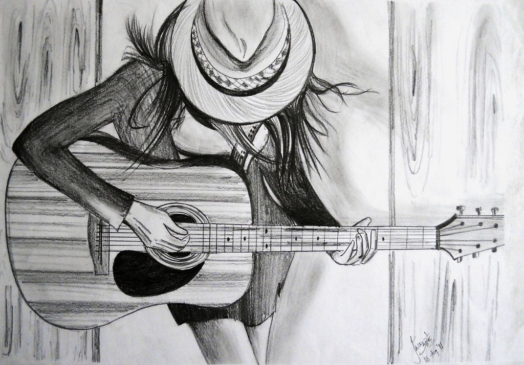 Me and My Guitar in 2020 Pencil sketches of girls, Music