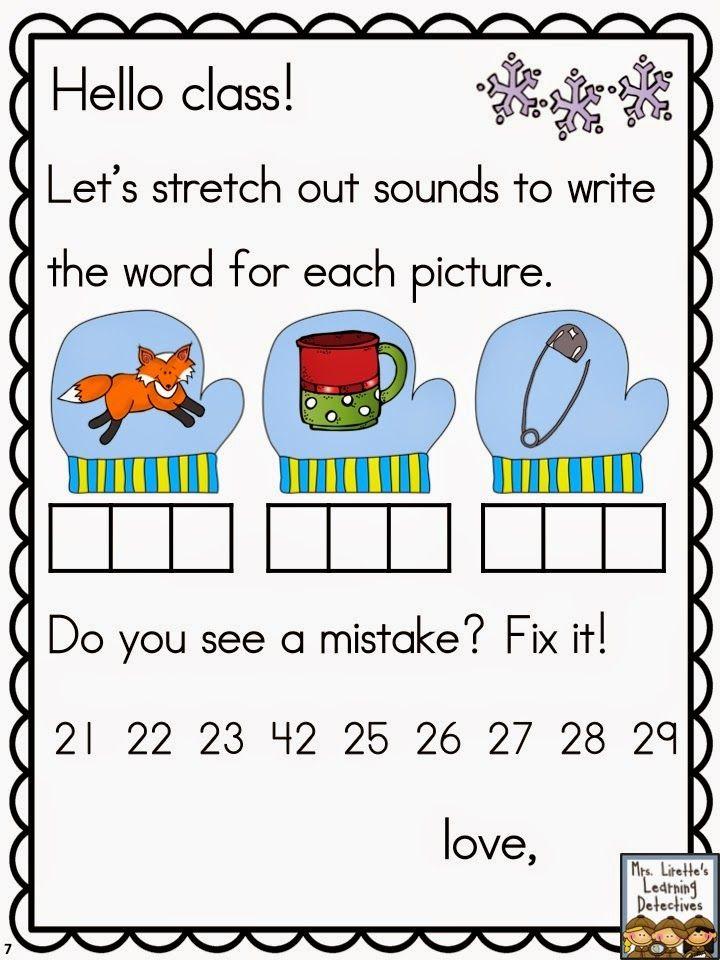 Collaborative Classroom Procedures ~ January morning messages for kindergarten kinderland